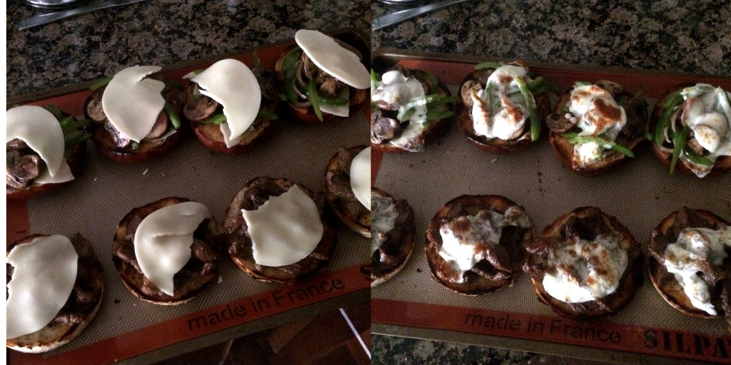 before and after the broiler