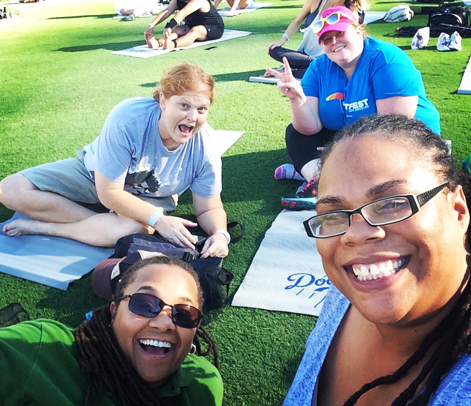 Yoga Day with the Dodgers and Flowers